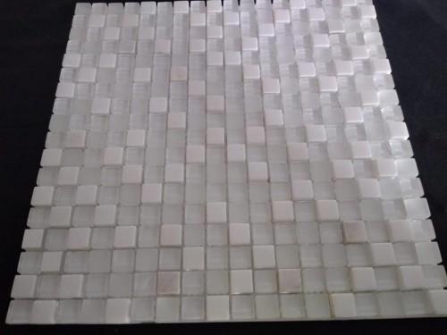 Pastilha 30X30-10068 Vidro e pedra mármore branco